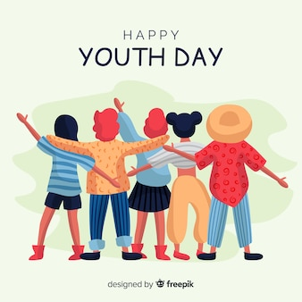 Youth day background hand drawn style
