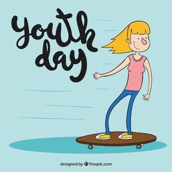 若者の日スケートボードの女の子の背景