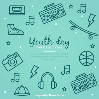 若者の日の背景とアクセサリー