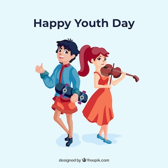 Youth day background with couple