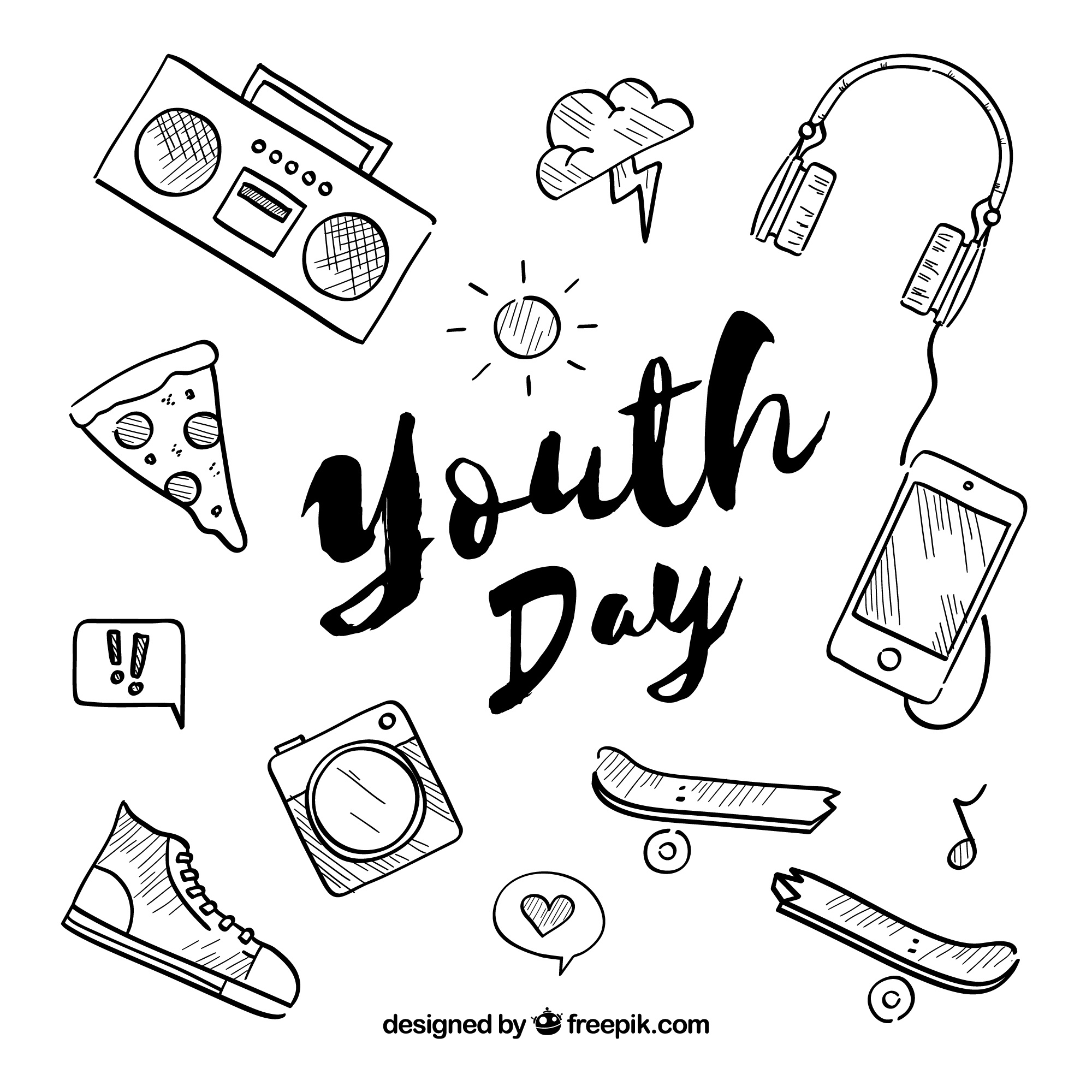 Youth day background with different elements