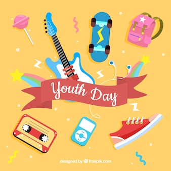 Youth day background with flat elements