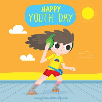 Youth day background with girl on skates