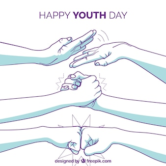 Youth day background with hand drawn arms