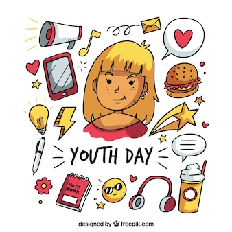 Youth day background with hand drawn elements