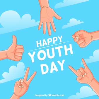 Youth day background with hands