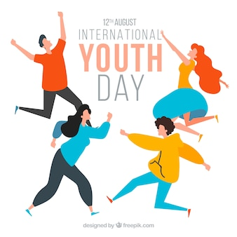 Youth day background with happy people