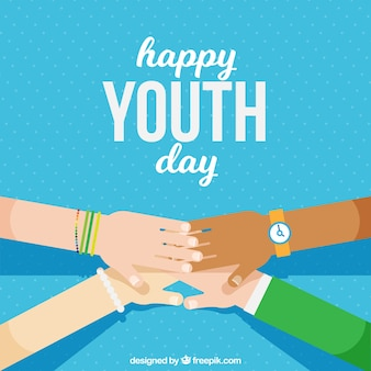 Youth day background with joined hands