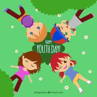 Sfondo di giorno della gioventù con i bambini