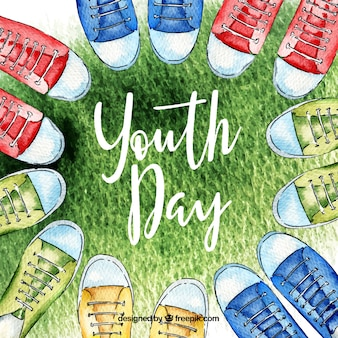 Youth day background with shoes