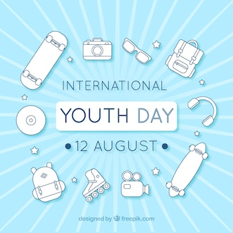 Youth day background with white elements