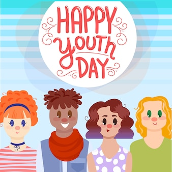 Youth day background with young people and typography