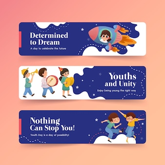 Youth day banner template design for international youth day, template, advertising watercolor
