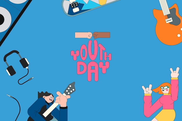 Youth day celebration  blue background template vector