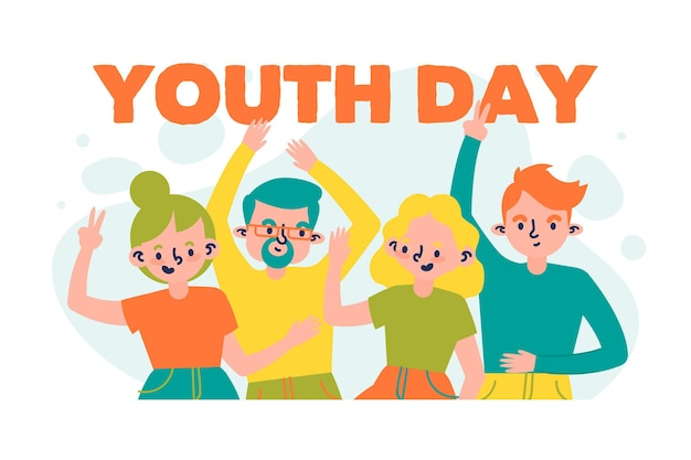 Youth day celebration hand drawn style