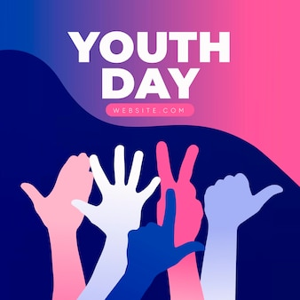 Youth day celebration with silhouettes