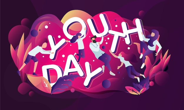 Youth day colorful modern theme illustration vector