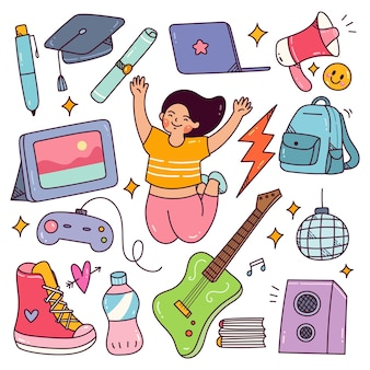 Youth day concept doodle happy teenager with their hobbies and equipment