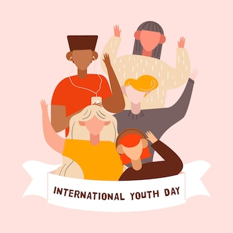 Youth day concept in flat design