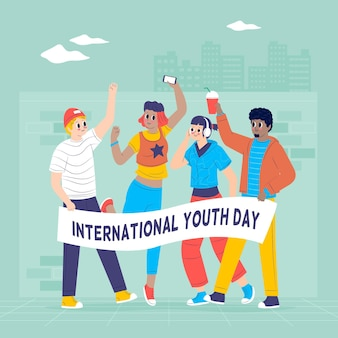 Концепция дня молодежи в плоском дизайне