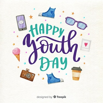 Youth day elements watercolor style