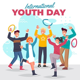 Youth day in flat design concept