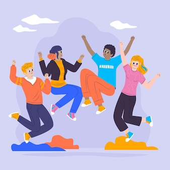 フラットなデザインで若者をジャンプする若者の日