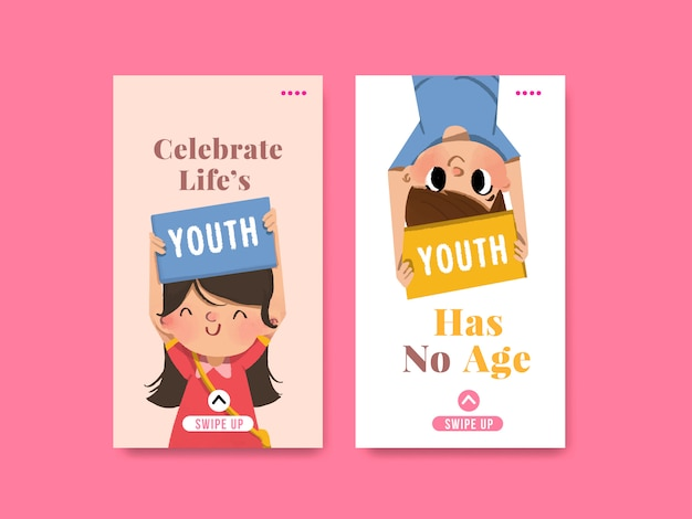 Молодежный день дизайн шаблона для международного дня молодежи, социальные медиа, акварель
