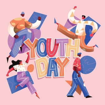 Youth day typography with teenagers group