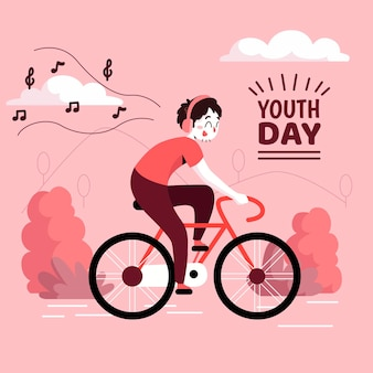 Youth day with cyclist listening to music on headphones