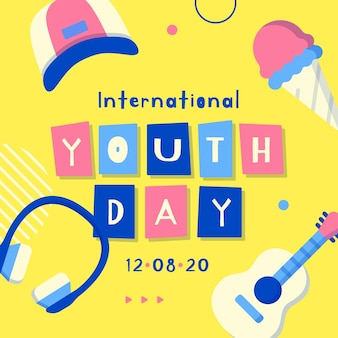 Youth day with guitar and headphones