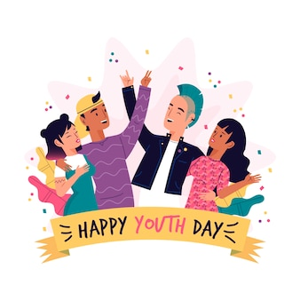 Youth day with people and confetti