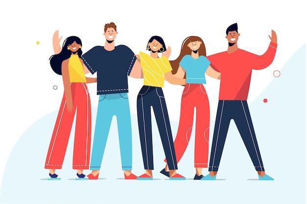 Giornata della gioventù con la gente che abbraccia insieme illustrazione