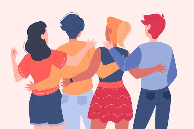 Youth day with people hugging together