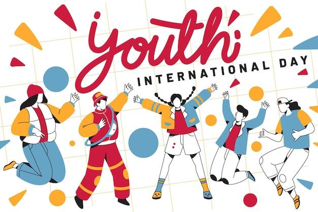 사람들이 점프와 청소년의 날