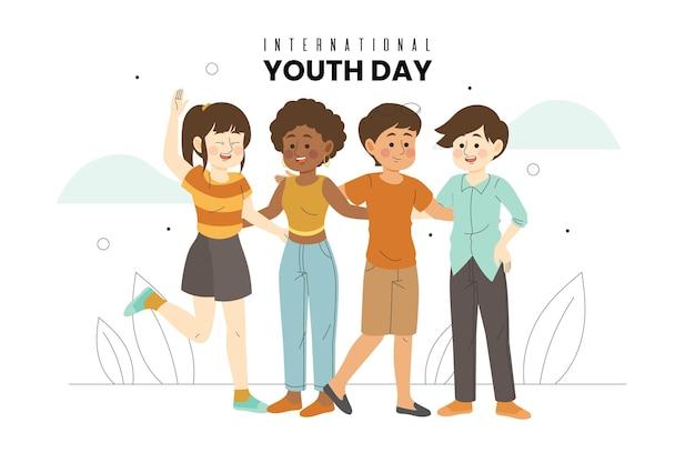 День молодежи, когда молодые люди обнимаются