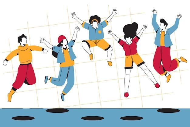 젊은 사람들이 점프와 청소년의 날