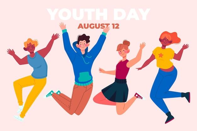 若者がジャンプする青年の日
