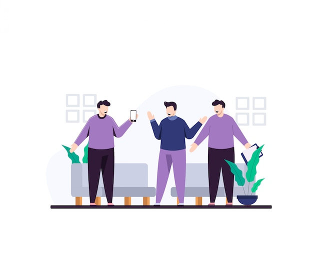 Youth discussion flat illustration design