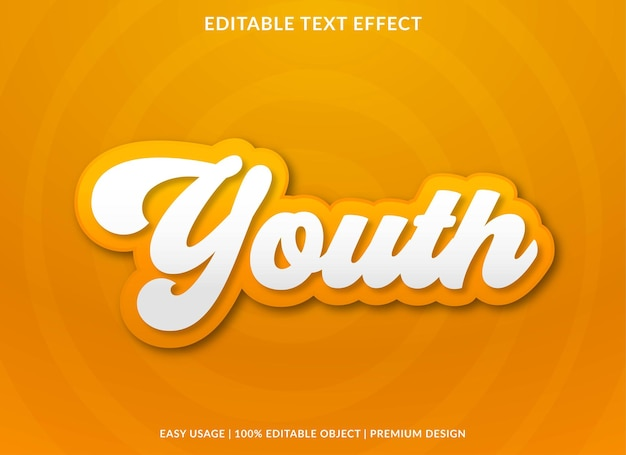 Youth editable text effect template premium vector