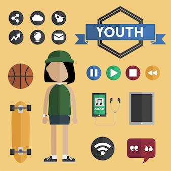 Youth girl flat design icons concept