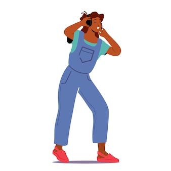 헤드폰으로 사운드 트랙을 듣는 청소년 소녀. 젊은 여자는 음악을 듣고 휴식을 취하십시오. 이어폰을 끼고 있는 여성 캐릭터