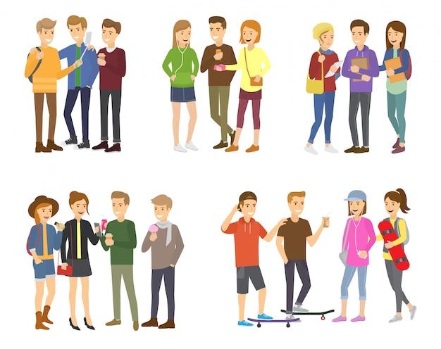 Молодежная группа подростков сгруппировала векторных персонажей-подростков девочек и мальчиков вместе и набор иллюстраций дружбы молодых студентов