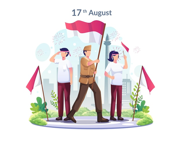 Youth and heroes celebrate indonesias independence day on august 17th illustration