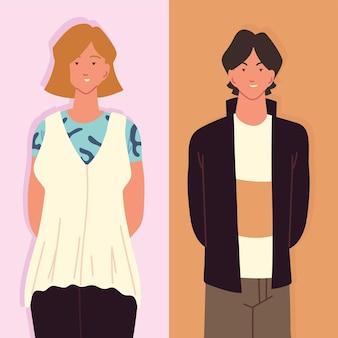 청소년 남자와 여자 만화