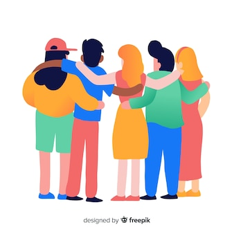 Youth people hugging together background