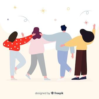 청소년 사람들이 함께 배경 포옹