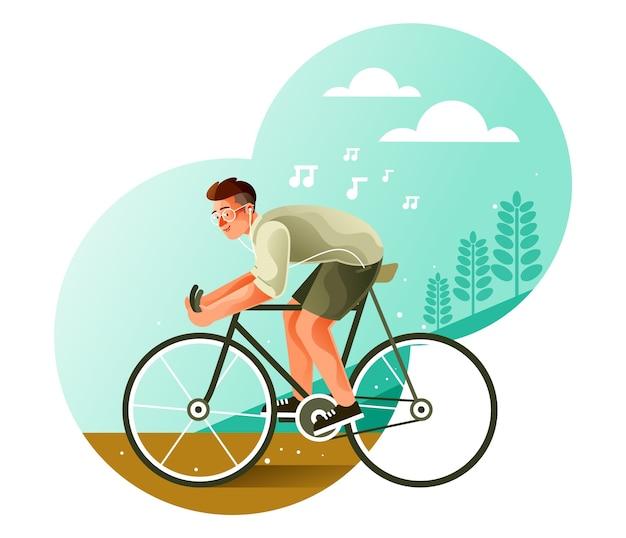 Молодежь катается на велосипеде под музыку