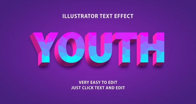 Youth text effect, editable text