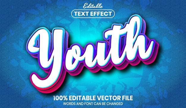 Молодежный текст, редактируемый текстовый эффект стиля шрифта